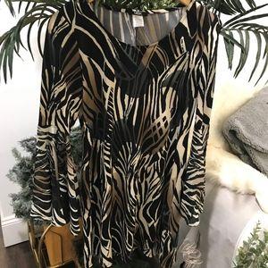 MSK BLACK & CREAM JUNGLE PRINT DRESS